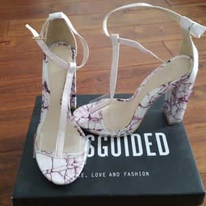 Missguided T-strap marble block heels